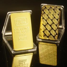 瑞士银行金条纪念币1盎司异形金币硬币 外币收藏工艺品方形镀金块