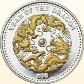 2012年斐济发行生肖龙珍珠镶嵌1盎司镀金精制银币
