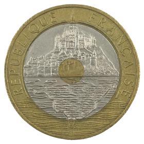 1992年法国发行圣米歇尔山双金属纪念币