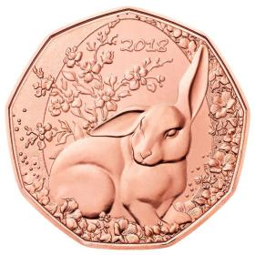 2018年奥地利发行复活节兔子5欧元铜币