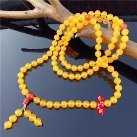 玉器新疆精品戈壁料金黄三彩玉圆珠项链 尊贵选择 金丝玉多圈手串