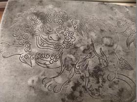 民国老锡盒、狮子纹