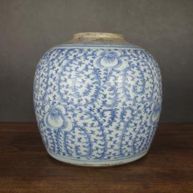清代特大号缠枝纹青花罐青花瓷器茶叶罐摆设收藏
