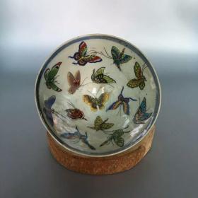 收藏百蝶碗古董瓷器收藏摆件民间艺术古典