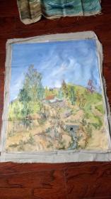 老油画:  乡村风光  长110厘米*90厘米 ,年代不详【油画47】