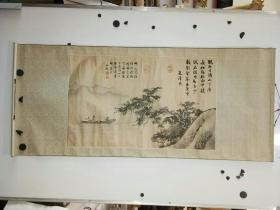 约八九十年代 绢本复制古画 元代画家朱泽民 横幅 原装旧裱 画心尺寸75x46