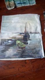 老油画: 港湾 长100厘米*90厘米 ,年代不详【油画48】