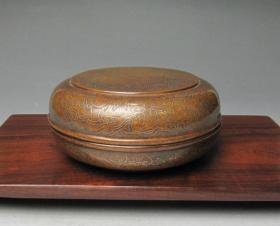 铜掐银丝粉盒 印泥盒 文房收藏品
