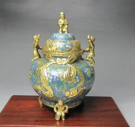 紫铜胎掐丝珐琅鎏金香炉