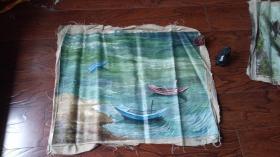 老油画: 港湾 长75厘米*65厘米 ,年代不详【油画49】