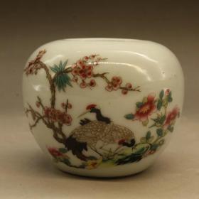 《粉彩双鹤鸟食罐 瓷器收藏》口径3.5厘米 底4厘米 高5厘米