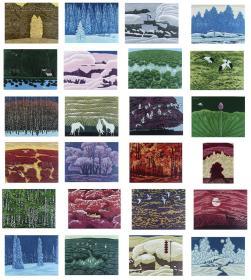 当代实力派版画家、哈尔滨阿城区美协副主席 杨其宇 2011-2012年套色木刻版画 一组二十四幅(编号A/P,尺寸:30cm*40cm;有作者题签)  HXTX105437