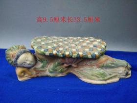 少见唐三彩美女瓷枕