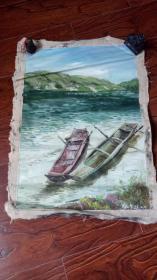 老油画: 港湾 长75厘米*55厘米 ,年代不详【油画50】