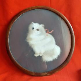 老舊木純手工繡貓看屏擺件        一件(正反兩圖一樣),白貓可愛,栩栩如生!