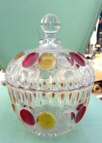 老红黄彩玻璃盖罐~全美品