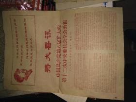 特大喜报 中国共产党第八届扩大的第12次中央委员会全会公告