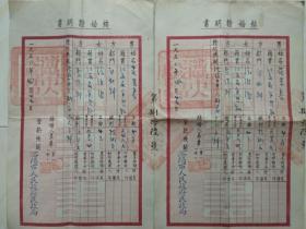 早期 结婚证明书 一对(罕见成对结婚证书,1950年沈阳市人民政府民政局,品相完美)