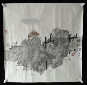 河北省美术家协会会员赵红光国画《赏菊图》
