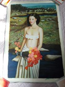 布面油画一张(99X69公分 包手绘)【包快递】.