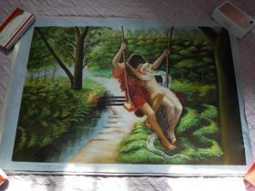 布面油画一张(99X69公分 包手绘【包快递】