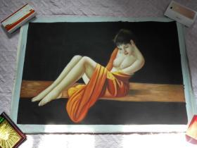 布面油画一张(99X69公分 包手绘)人物【包快递】.....