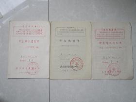 文革武汉市马房山中学学生情况通知单三张【易芳 】