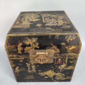木胎描金彩绘漆器盒摆件