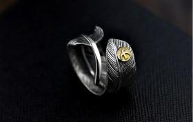925纯银戒指 高桥吾郎飞鸟戒指 太阳羽毛泰银戒指 个性开口男款,工艺精湛值得永久收藏