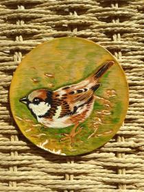 皮雕杯垫(麻雀)