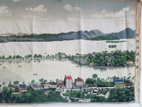 老丝织品 超大幅《杭州西湖全图》尺寸124×42厘米,保真。