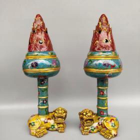 旧藏纯铜景泰蓝手工掐丝珐琅彩貔貅瑞兽博山炉摆件一对尺寸如图,重3730克
