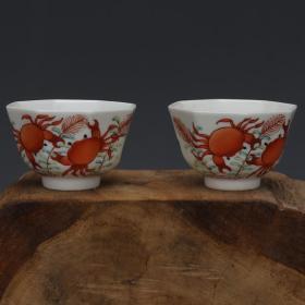 清粉彩蟹虾纹八角茶杯酒杯
