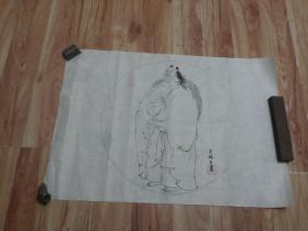 天津知名画家吴林生速写画稿七份合售【三岔口】【欢庆舞】【情亲】等带落款及钤印保真,实物拍照书影如一