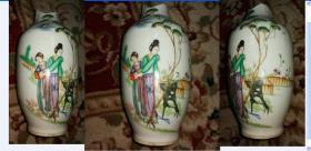 特价民国手绘五彩人物二乔美女图花瓶竹里馆底款包老可做标本