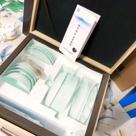 18头易洁多功能生物海瓷餐具(青色浮雕)