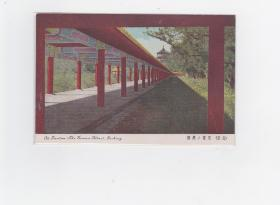 民国  明信片 【北京天坛--长廊】  彩色版 一张