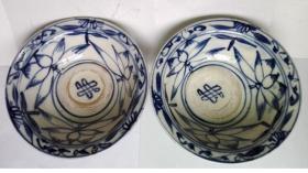 清代晚期到民国;耀州陈炉窑荷花、万字纹-青花大腕(2只一对和售,窖藏老货)