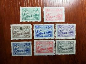华东解放区票山东二七建邮纪念有齿邮票8枚一起卖!包真。