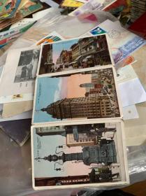 美国旧金山,唐人街,格兰特大街等风景明信片3张连接在一起的,正反面都有