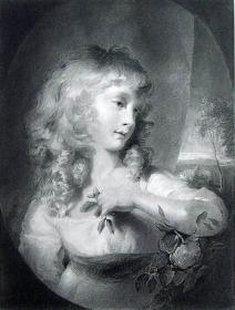 """1875年艺术画廊系列钢版画《公主阿米莉亚》 —""""T. Lawrence""""作品 尺寸:37x27cm 附文字介绍"""