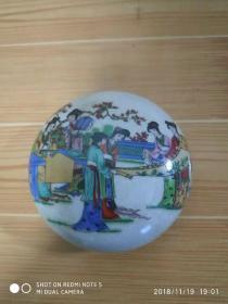 瓷印泥盒·墨盒·粉彩開片【仕女圖案】印盒·文房用品·擺件