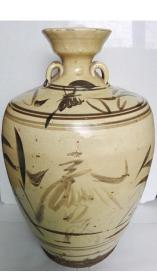 清代;耀州系陈炉窑福字纹--黄釉酱彩大酒墩子(可观赏、可实用)