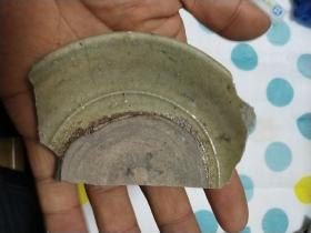 宋代绿釉带底碎瓷片