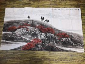著名边塞山水画家,新疆书画研究院秘书长 - 李保民 国画原作  净尺149*83  【保真出售】