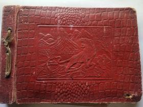 老影集 相册  上海明华纸品工业社出品(漆布面,凹凸立体图案)
