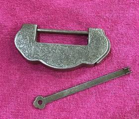 老式小铜锁插销锁刻花横开挂锁百年好合