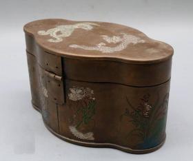 首饰盒铜珠宝盒饰品盒项链收纳盒中式仿古中号首饰龙凤呈祥