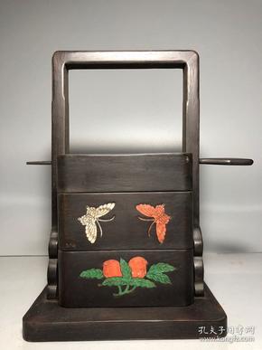 民国红木镶贝壳食盒一个  高28.5厘米. 宽18厘米 包浆好,无破损
