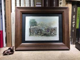 欧洲版画 阿尔楚尔之战 手工上色铜版画 约十八世纪 镜框尺寸:25*21cm